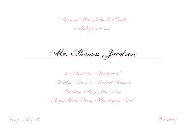 Online Invitation card with a classic hand written font - available in different colors. Pink.