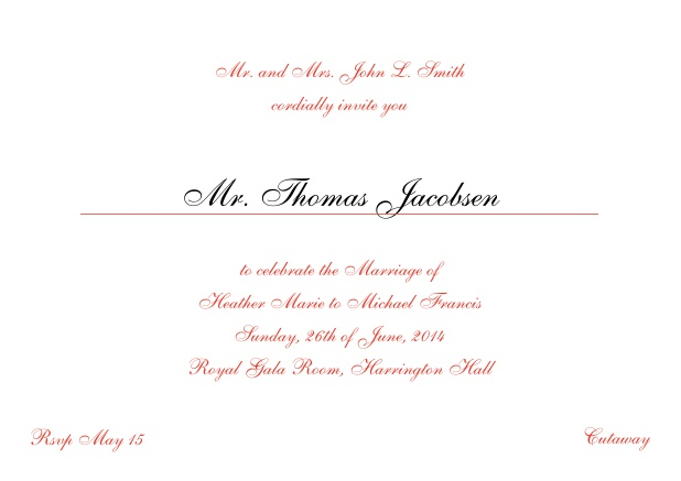 Online Invitation card with a classic hand written font - available in different colors. Red.