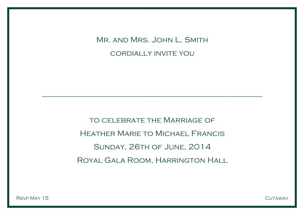Online Classic wedding invitation card with thin single frame and classic font - available in different colors. Green.