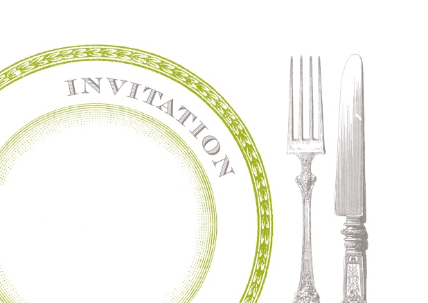 Online Invitation card with plate and silverware.