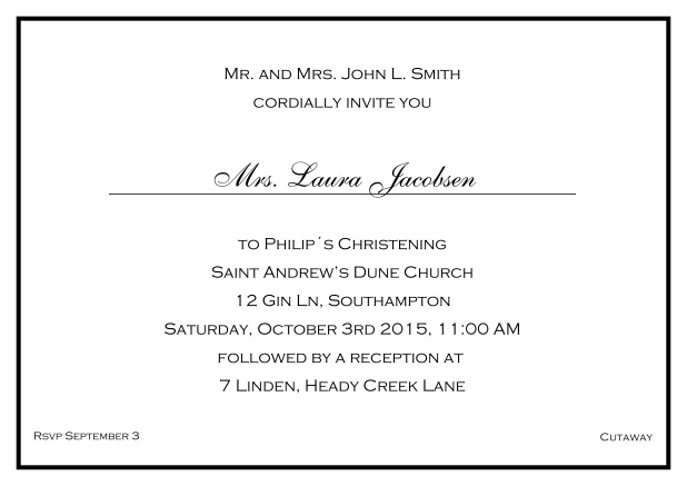 Online Traditional invitation card with a single line frame to a Christening in many color variations including a line for the gues's name. Black.