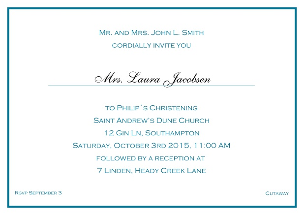 Online Traditional invitation card with a single line frame to a Christening in many color variations including a line for the gues's name. Blue.