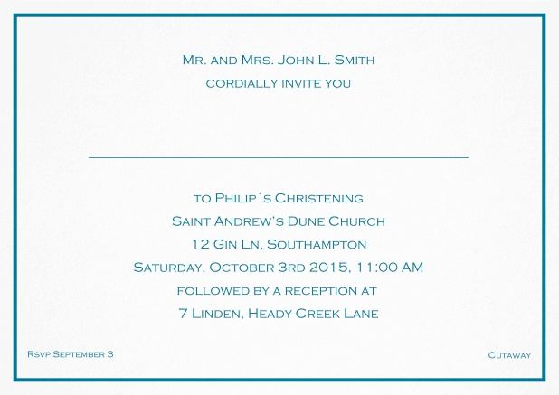 Traditional invitation card with a single line frame to a Christening in many color variations including a line for the gues's name. Blue.