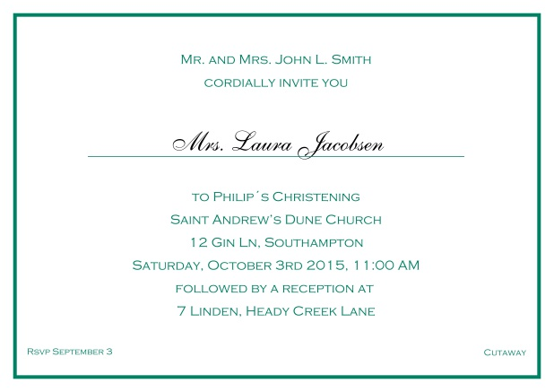 Online Traditional invitation card with a single line frame to a Christening in many color variations including a line for the gues's name. Green.