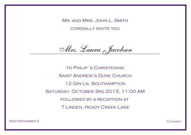 Online Traditional invitation card with a single line frame to a Christening in many color variations including a line for the gues's name. Purple.