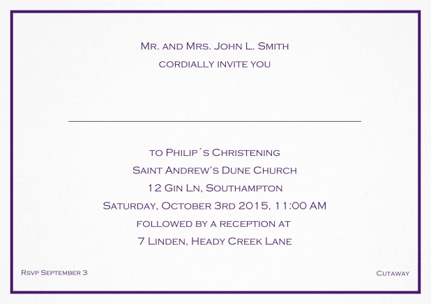 Traditional invitation card with a single line frame to a Christening in many color variations including a line for the gues's name. Purple.