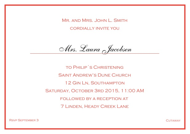 Online Traditional invitation card with a single line frame to a Christening in many color variations including a line for the gues's name. Red.