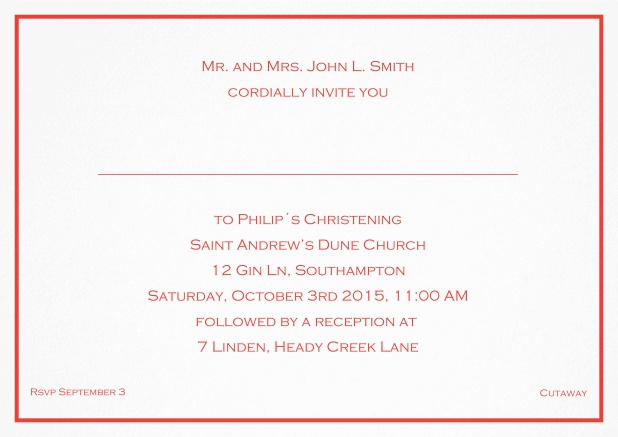 Traditional invitation card with a single line frame to a Christening in many color variations including a line for the gues's name. Red.