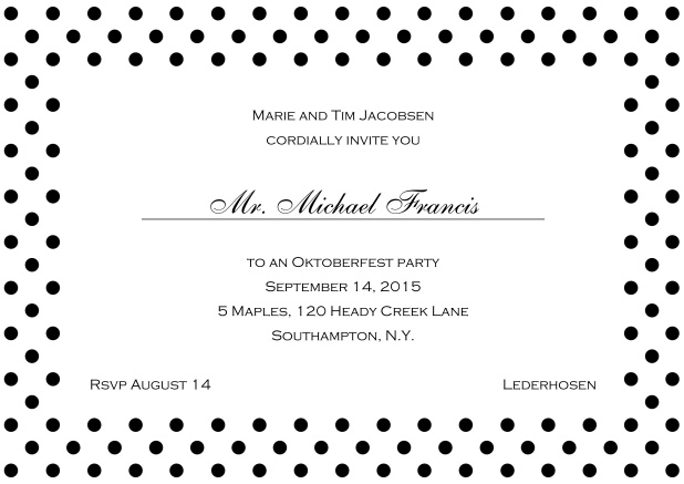 Classic online invitation card with large poka dotted frame and editable text. Black.