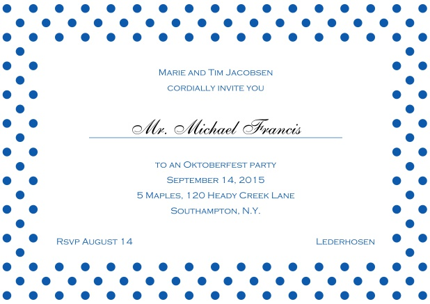 Classic online invitation card with large poka dotted frame and editable text. Blue.