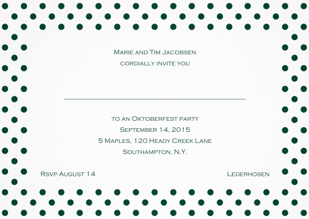 Classic invitation card with large poka dotted frame and editable text. Green.