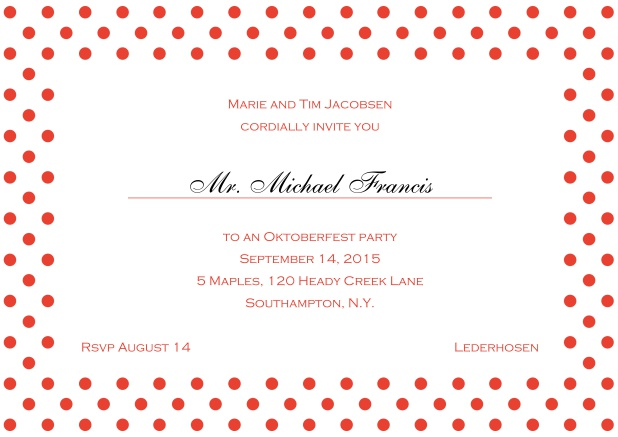 Classic online invitation card with large poka dotted frame and editable text. Red.