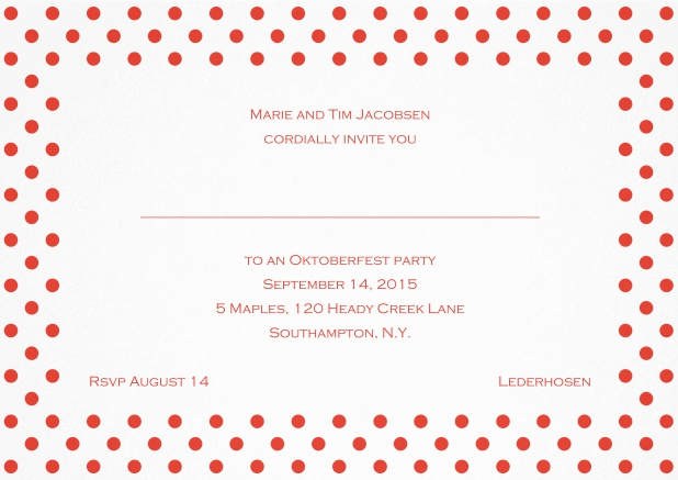 Classic invitation card with large poka dotted frame and editable text. Red.