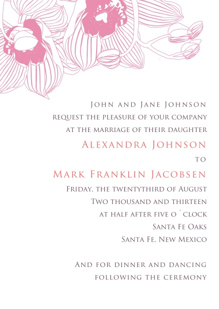 Online Wedding Invitation Card with pink colored floral design.
