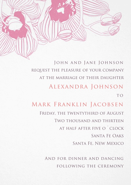 Wedding Invitation paper card with pink colored floral design.