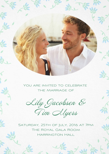Wedding invitation photo card with delicate flowers in many color. Blue.