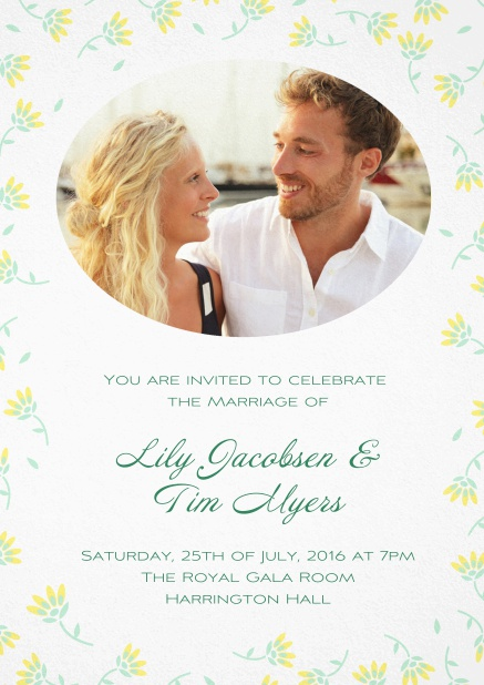 Wedding invitation photo card with delicate flowers in many color. Yellow.