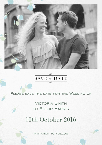 Wedding save the date card with photo and light blue flowers