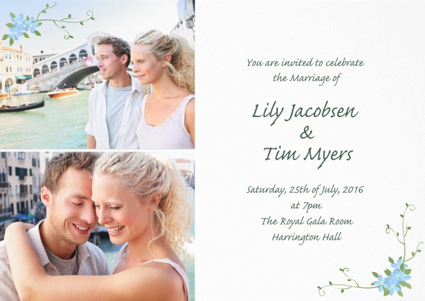 Wedding invitation card with two photo fields and flower deco.