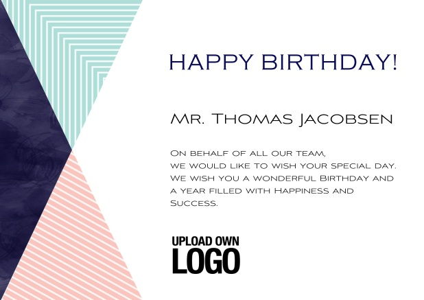 Online Corporate Birthday Greeting Card In Landscape With Small Rosa Blu And Dark Triangle Elements