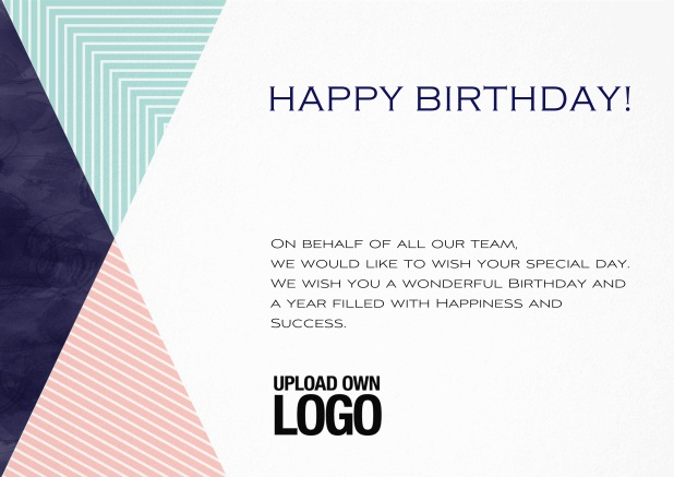 Corporate Birthday Greeting Card In Landscape With Small Rosa Blu And Dark Triangle Elements