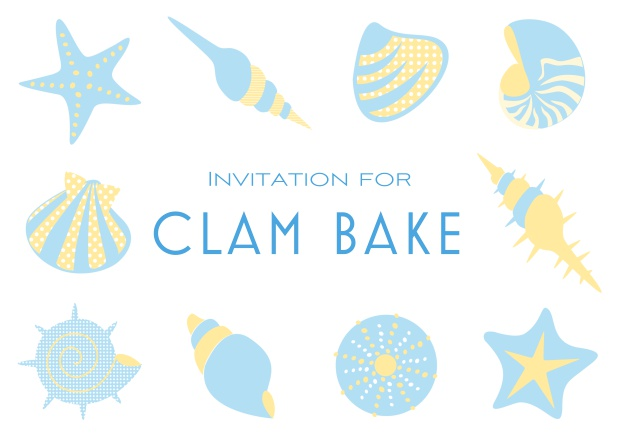 Summer Clam bake online invitation template with shells, sea stars etc. Blue.