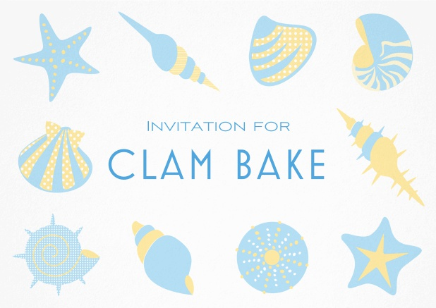 Summer Clam bake invitation template with shells, sea stars etc. Blue.