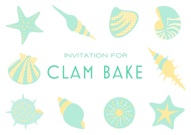 Summer Clam bake online invitation template with shells, sea stars etc. Green.