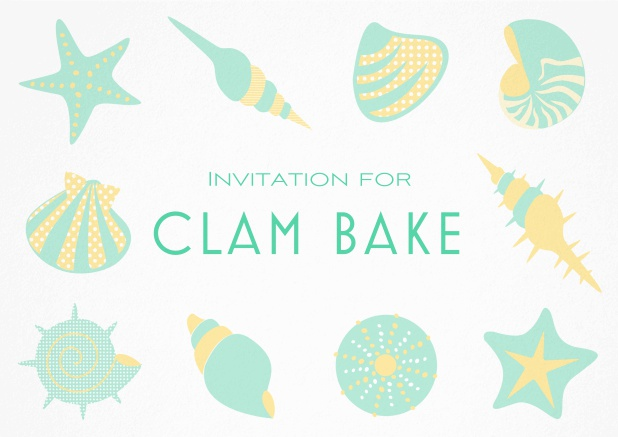 Summer Clam bake invitation template with shells, sea stars etc. Green.