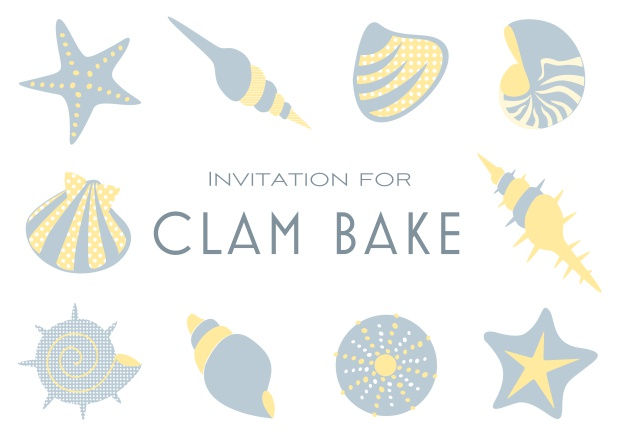 Summer Clam bake online invitation template with shells, sea stars etc. Grey.