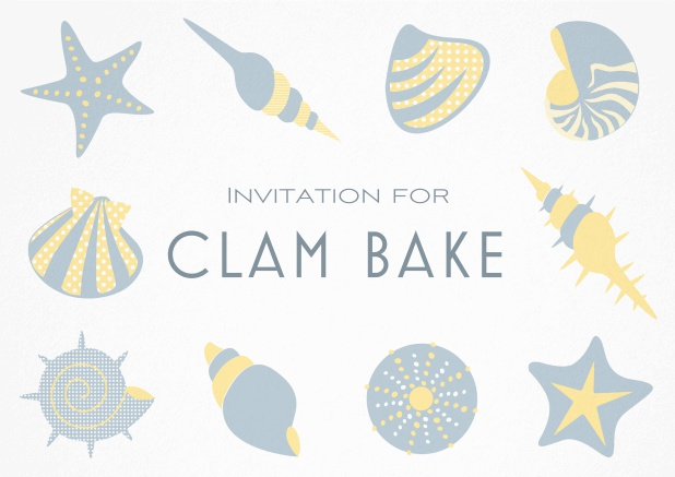 Summer Clam bake invitation template with shells, sea stars etc. Grey.