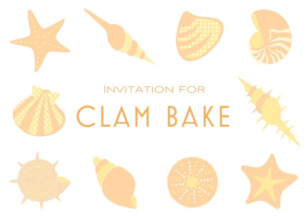 Summer Clam bake online invitation template with shells, sea stars etc. Orange.