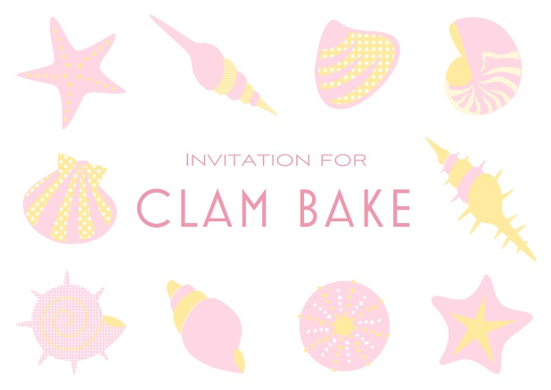 Summer Clam bake online invitation template with shells, sea stars etc. Pink.