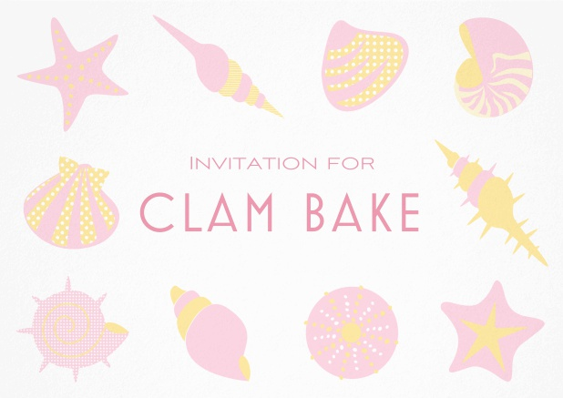 Summer Clam bake invitation template with shells, sea stars etc. Pink.