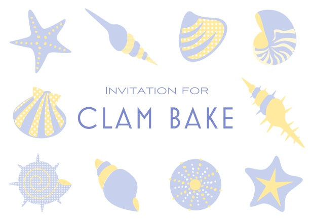 Summer Clam bake online invitation template with shells, sea stars etc. Purple.