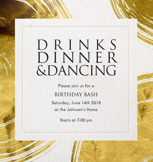 Invitation card with golden plates and designed text Drinks, Dinner and Dancing.