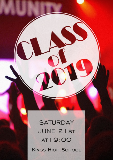 Class of 2019 graduation invitation card with photo and cool modern design.