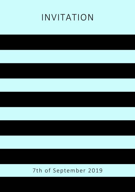 Online invitation card with black stripes in the color of your choice. Blue.
