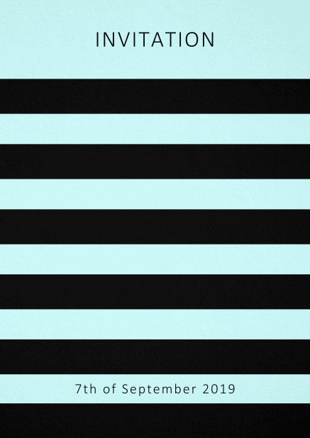 Invitation card with black stripes in the color of your choice. Blue.