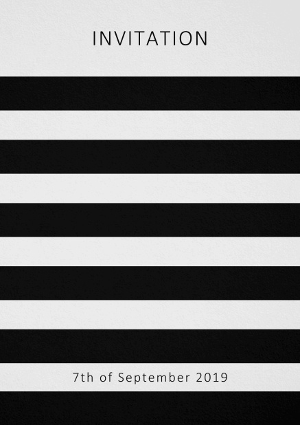 Invitation card with black stripes in the color of your choice. Grey.