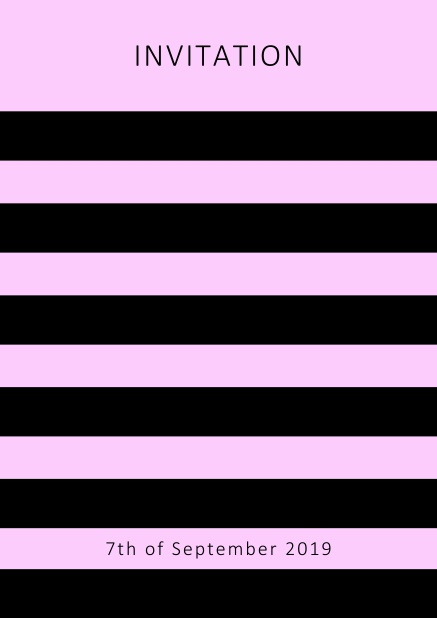 Online invitation card with black stripes in the color of your choice. Pink.