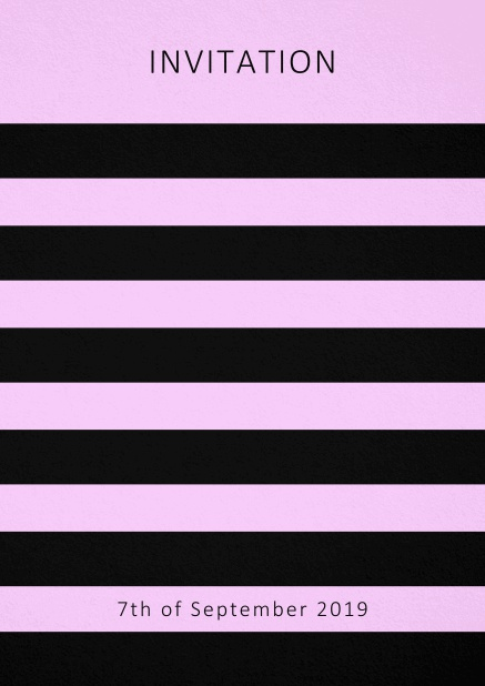 Invitation card with black stripes in the color of your choice. Pink.