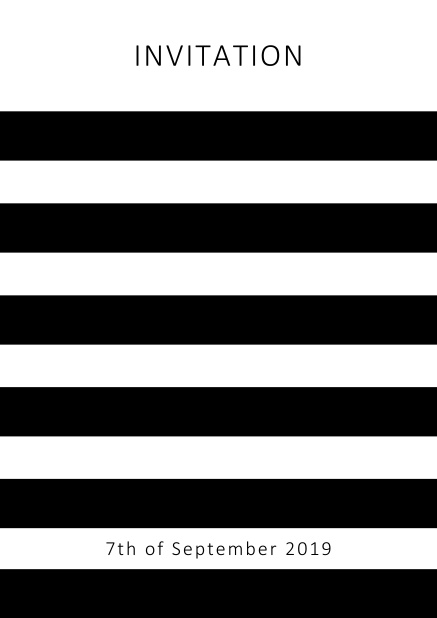 Online invitation card with black stripes in the color of your choice. White.