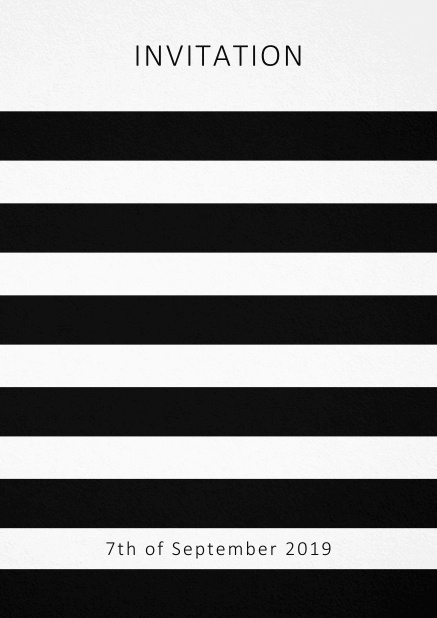 Invitation card with black stripes in the color of your choice. White.