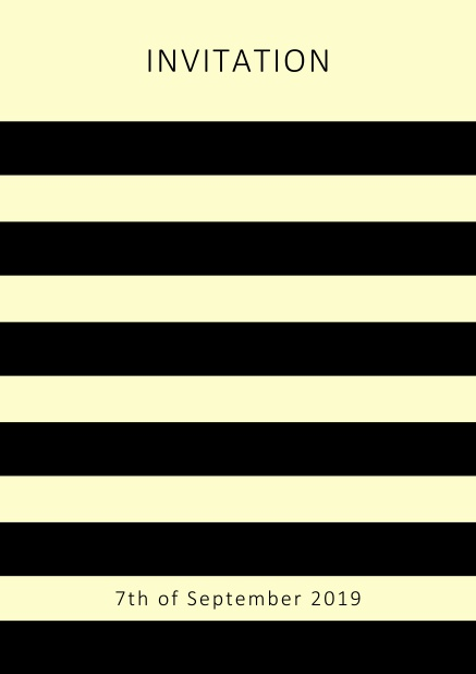 Online invitation card with black stripes in the color of your choice. Yellow.