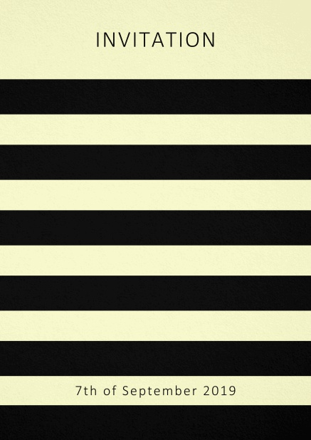 Invitation card with black stripes in the color of your choice. Yellow.