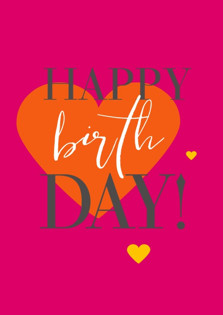 Online Happy Birthday Greeting Card With Large Orange Heart Pink