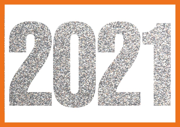 Online invitation card with cut our 2021 for your own photo Orange.