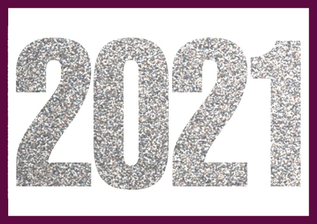 Online invitation card with cut our 2021 for your own photo Purple.