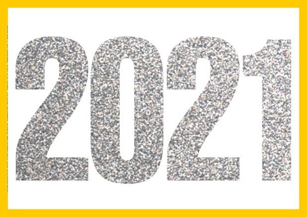 Online invitation card with cut our 2021 for your own photo Yellow.